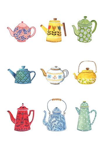 Andrina Manon Teapot Collection Watercolour Art Print