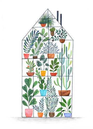 Andrina Manon The Giant Greenhouse Watercolour Art Print
