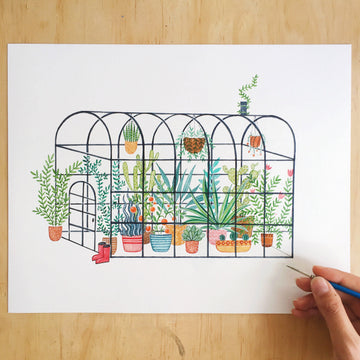 Andrina Manon The Magical Greenhouse Watercolour Art Print