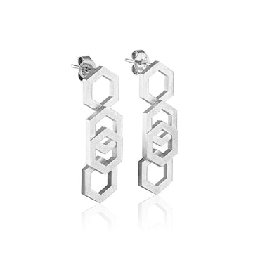 Svikis. Hexagon Drop Earrings // Sterling Silver
