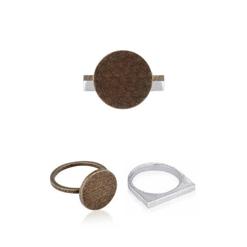 Svikis. Rustic Bronze Circle Statement Ring Combo