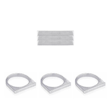 Svikis. Silver Flat Bar Stacker Ring Combo