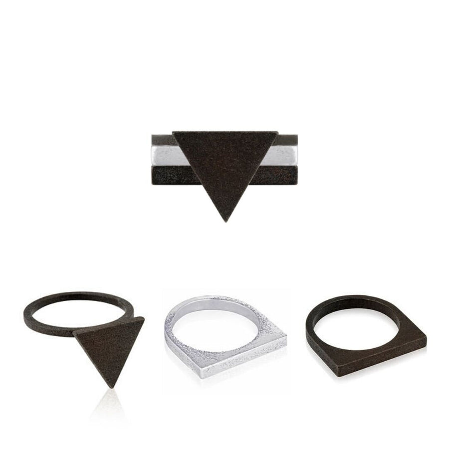 Svikis. Onyx Triangle Statement Ring Combo