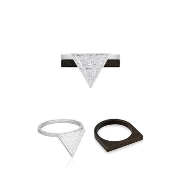 Svikis. Silver Triangle Statement Ring Combo