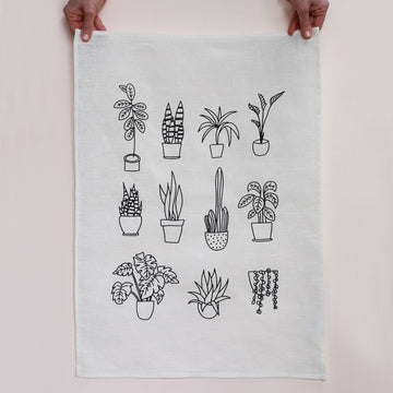 Me & Amber Greeting Card - Pot Plants Tea Towel in White Linen