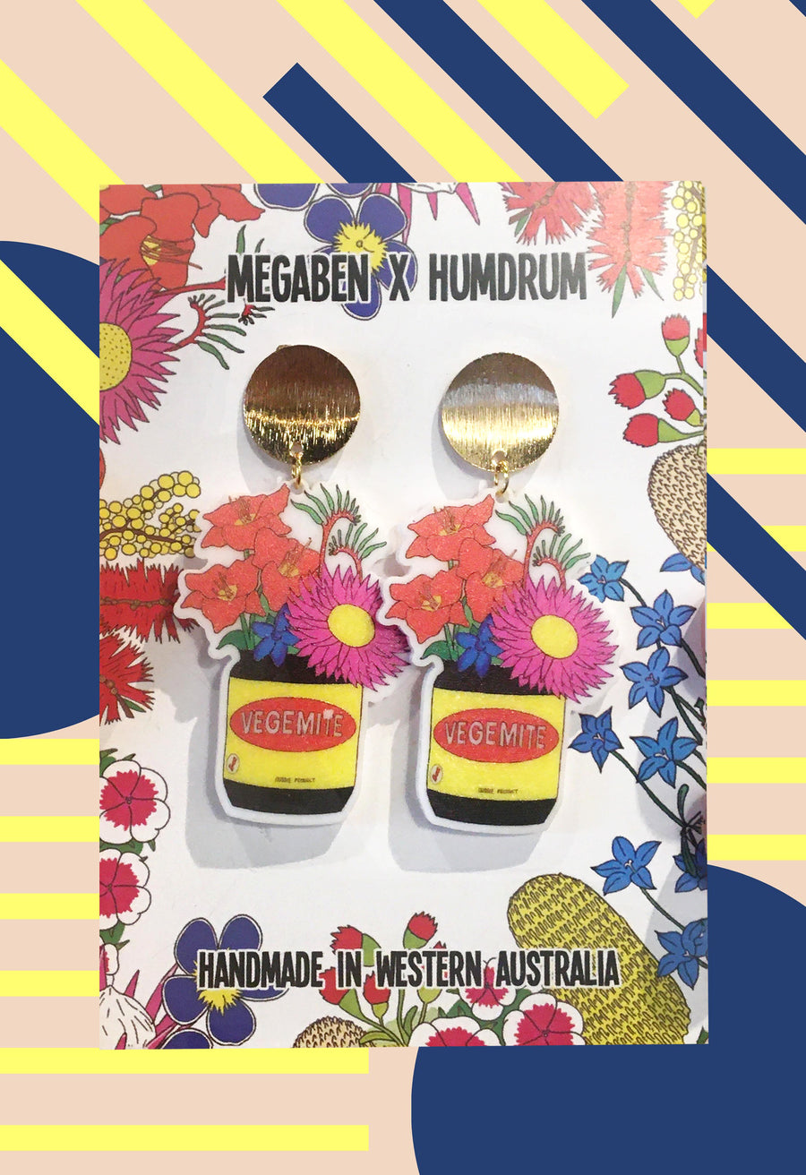 Mega Bens Doodles - Vegemite Earrings With Aussie Flowers