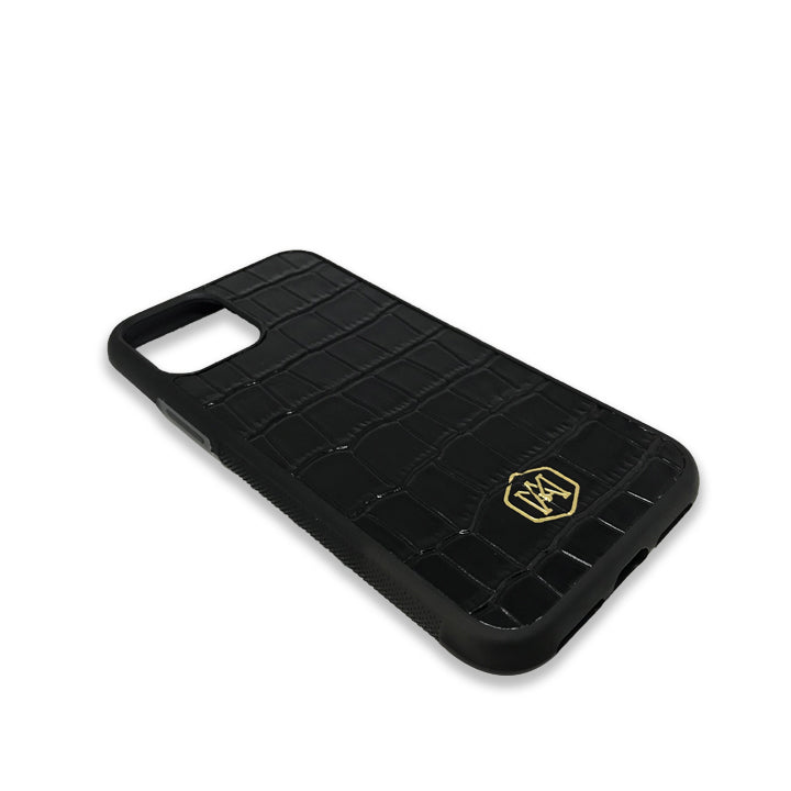 Iphone 11 Cover in Embossed Crocodile Leather