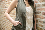 "women's tunic-vest in ""sage"""
