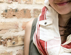 "infinity pocket-scarf in ""salmon"" stripe"