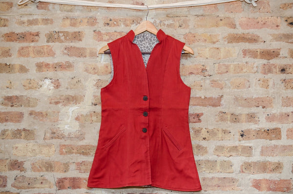 "women's tunic-vest in ""strawberry"""