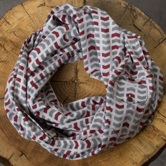 infinity pocket-scarf: arrow in grey + burgundy