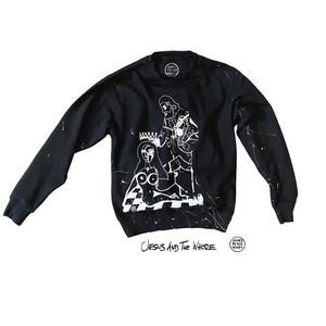 Graphic print distressed crewneck sweater