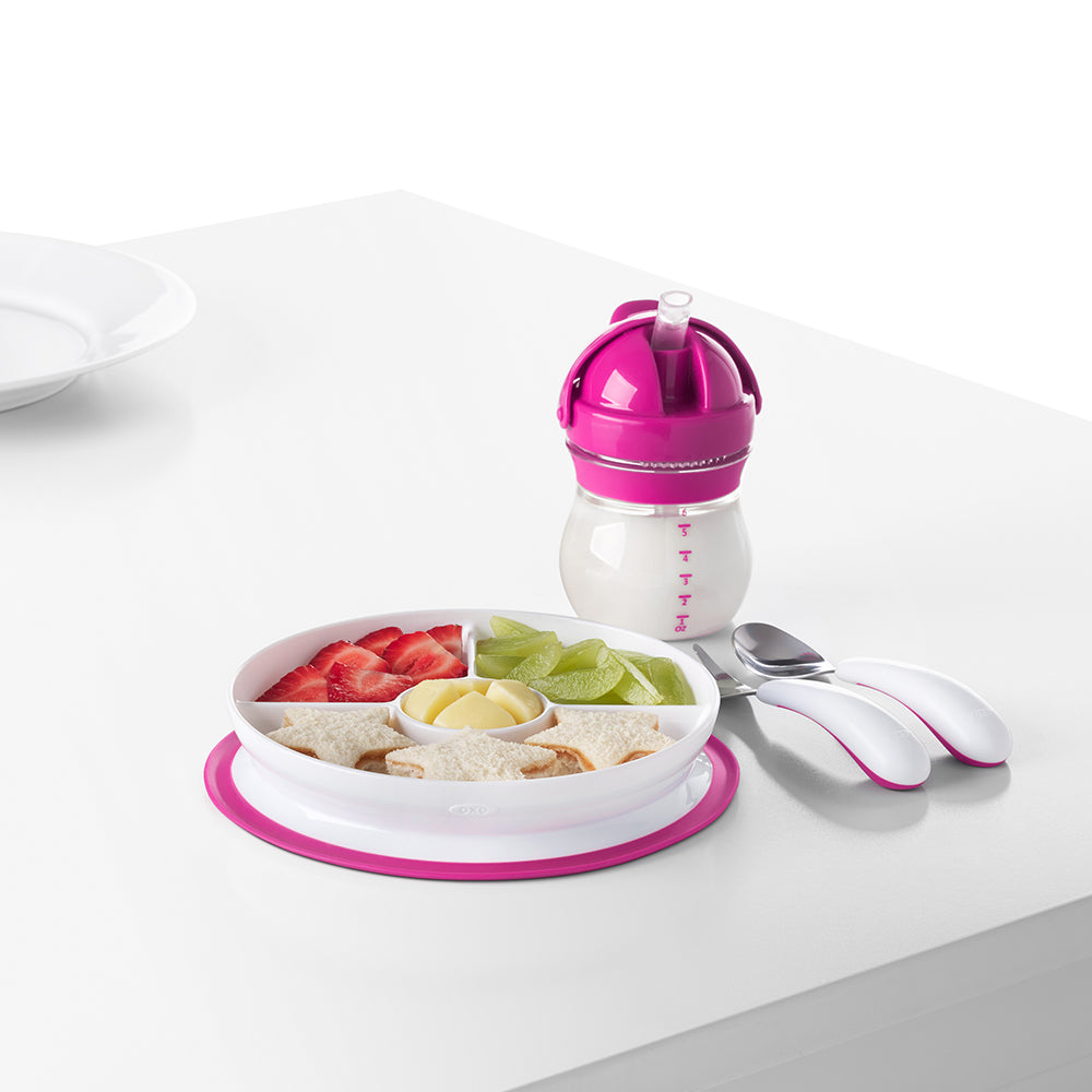 OXO Tot Stick & Stay Suction Divided Plate - Pink (1)