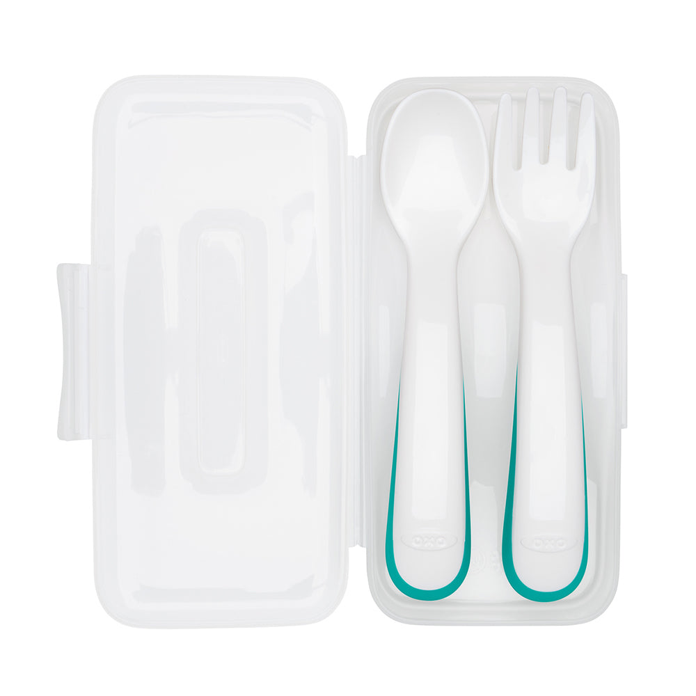 OXO Tot On-the-Go Plastic Fork & Spoon Set With Travel Case - Teal (3)