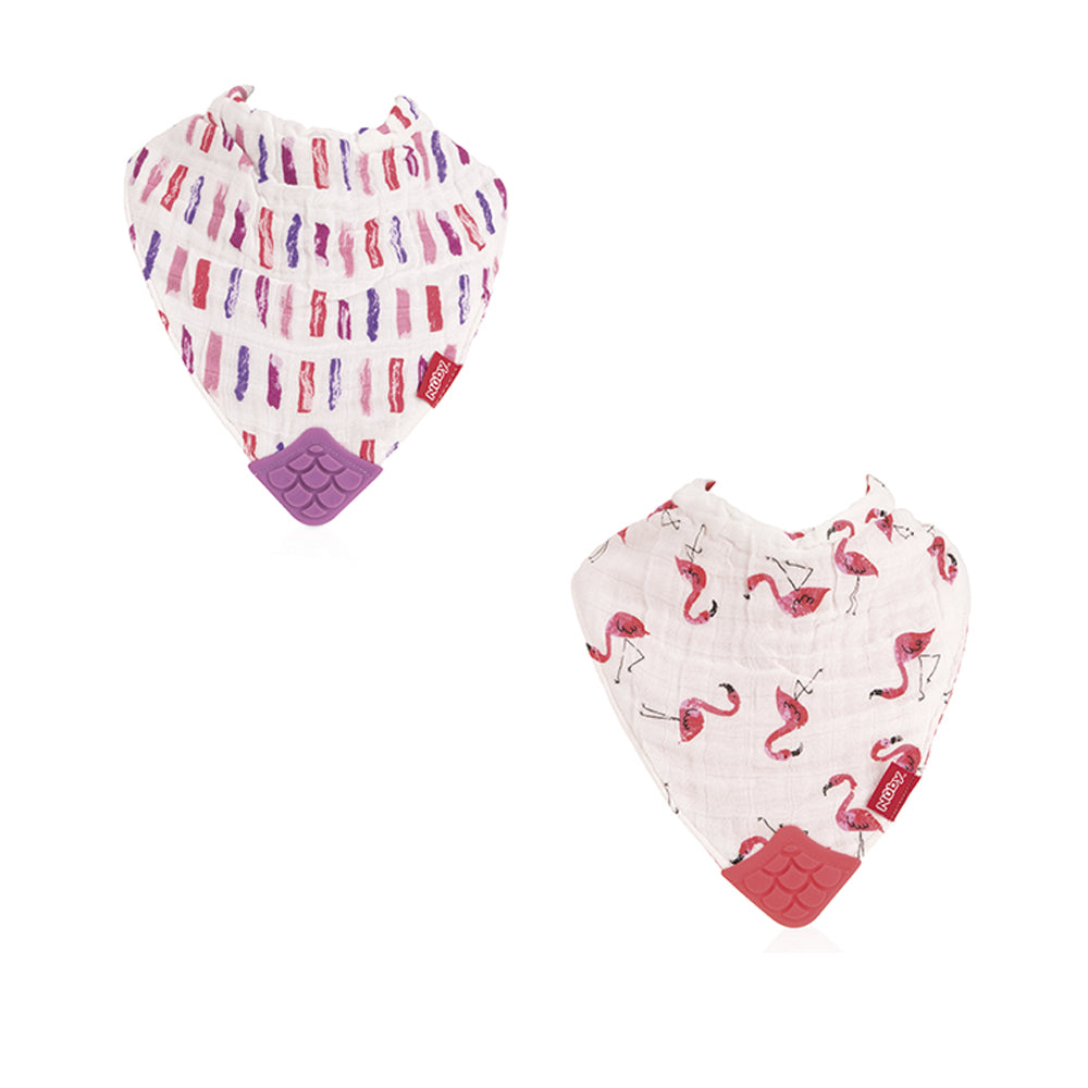Nuby Muslin Bandana Bibs with Teether - Flamingo Road & Brush Strokes
