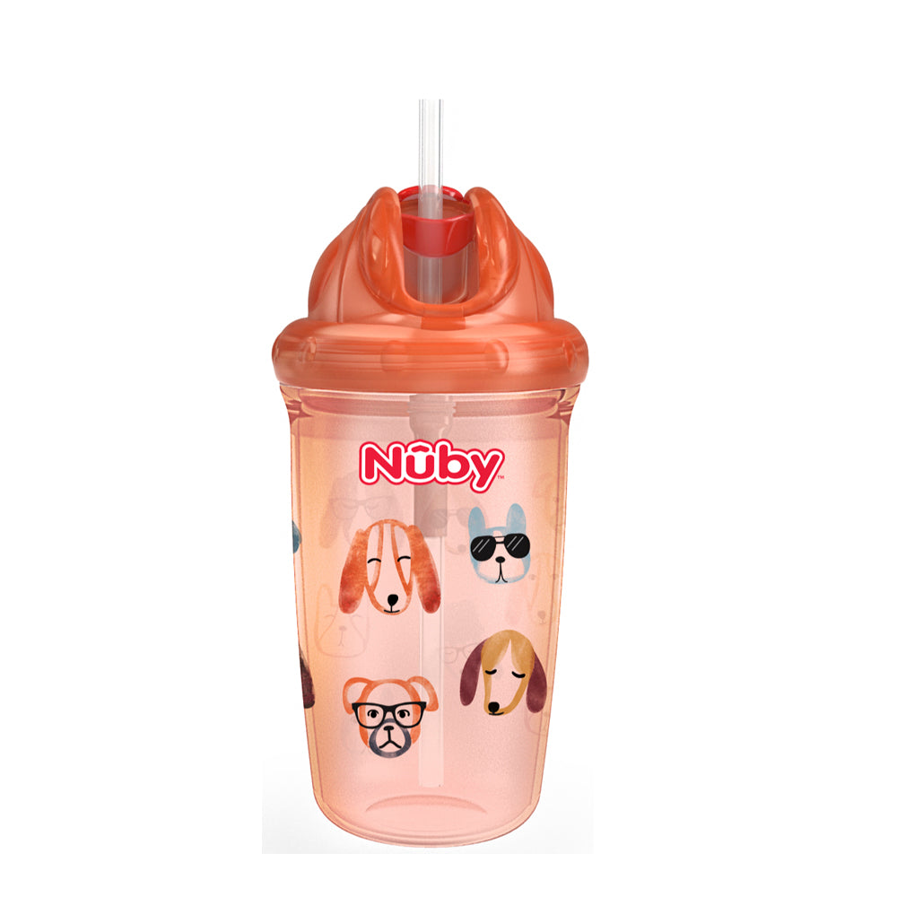 Nuby No Spill Flip-it Thin Straw Cup - Orange