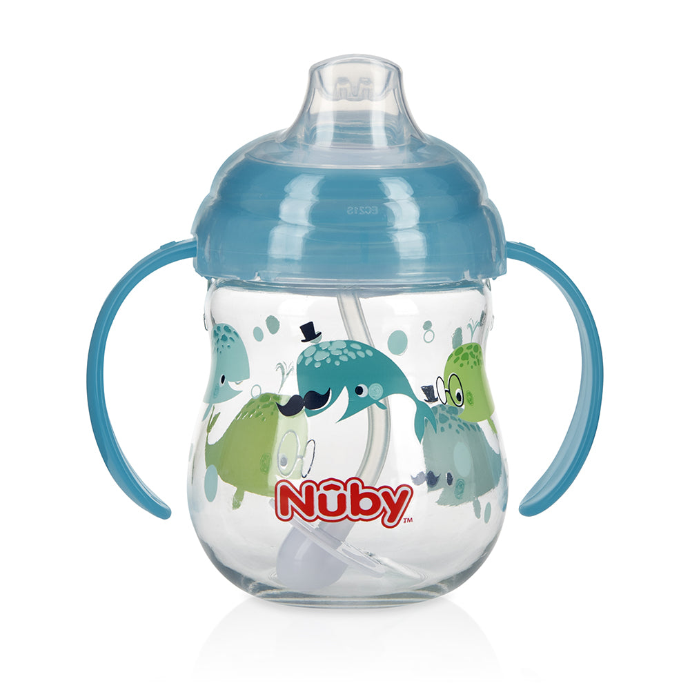 Nuby Tritan Clik-it Grip N' Sip Combo Trainer Cup - Light Blue