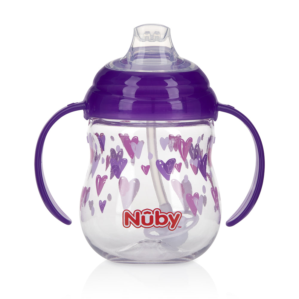 Nuby Tritan Clik-it Grip N' Sip Combo Trainer Cup - Purple