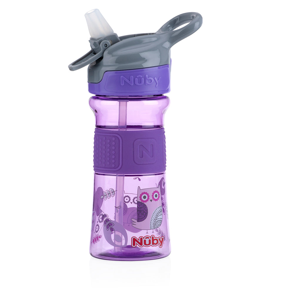 Nuby Soft Spout On the Go Sports Bottle with Push Button - Purple