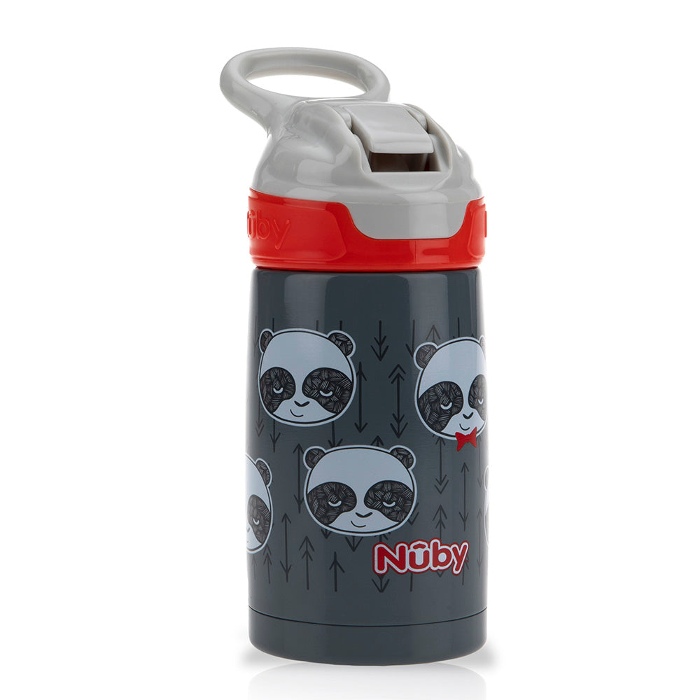 Thirsty Kids Printed Stainless Steel 10oz / 300ml No Spill Flip-It Reflex Push Button Soft Spout On the Go Cup - Pandas