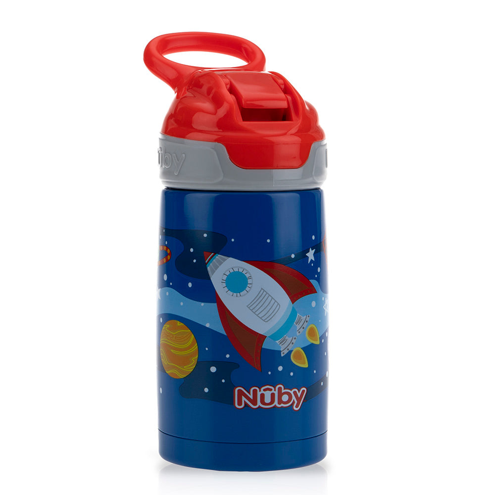 Nuby Thirty Kids Stainless Steel Flip-it Reflex Spout Cup - Rocket
