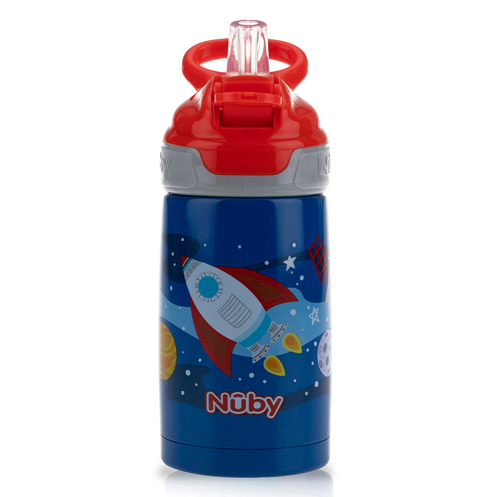Nuby Thirty Kids Stainless Steel Flip-it Reflex Spout Cup - Rocket (1)