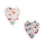 Nuby Muslin Bandana Bibs with Teether - Extinction Party & Triangles