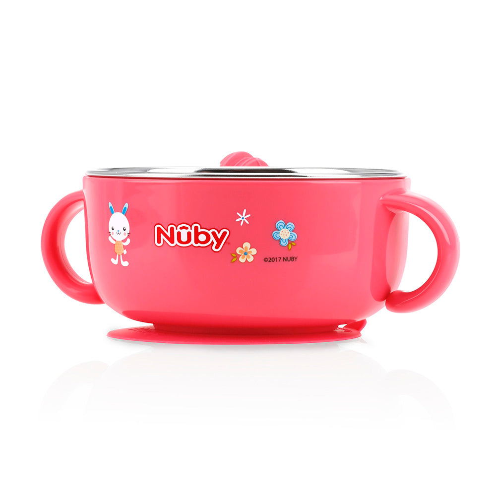 Nuby Stainless Steel Suction Bowl with Hot Water Tank - Pink