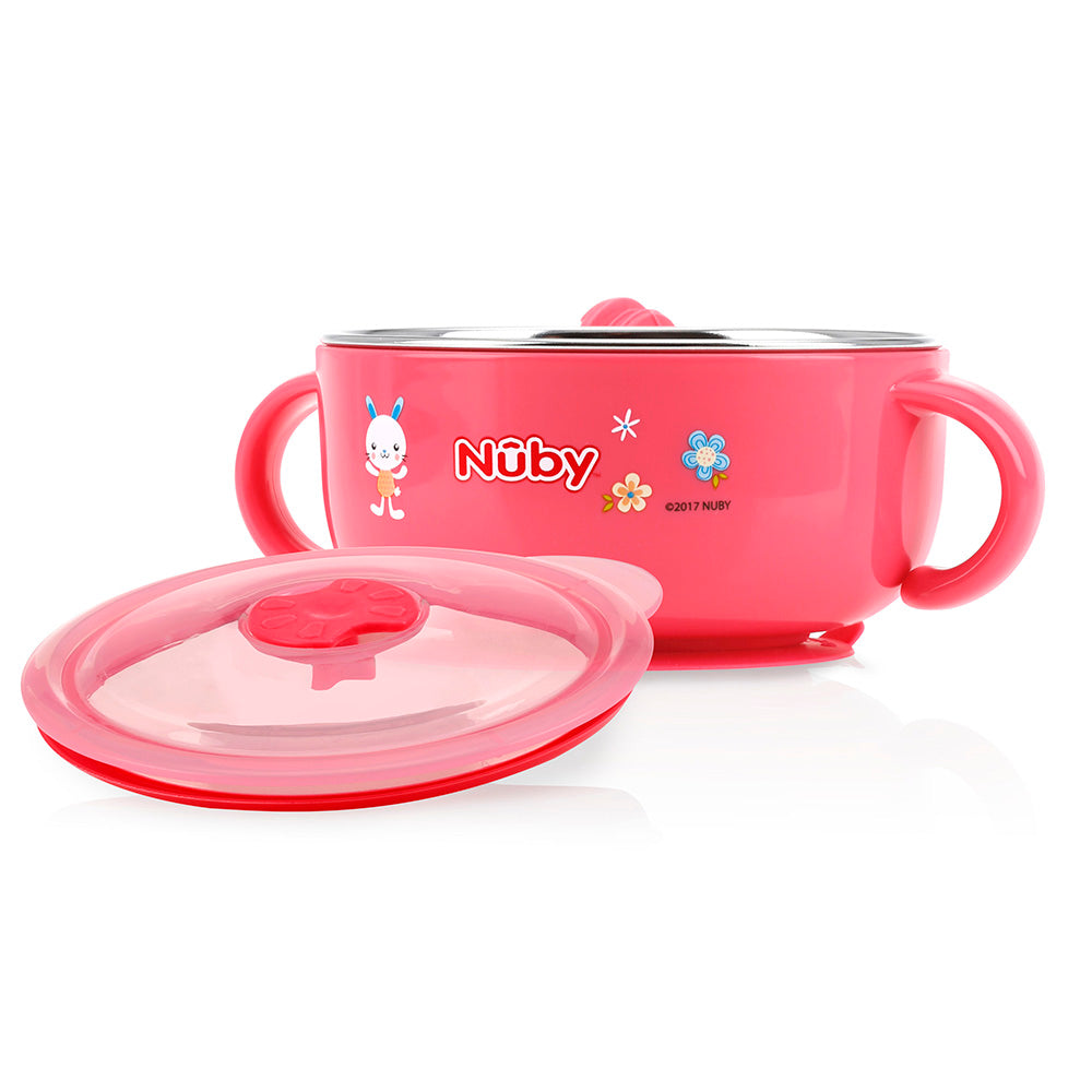 Nuby Stainless Steel Suction Bowl with Hot Water Tank - Pink (1)