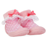 Nuby Snekz Sock & Shoe Large - Pink with White Dots