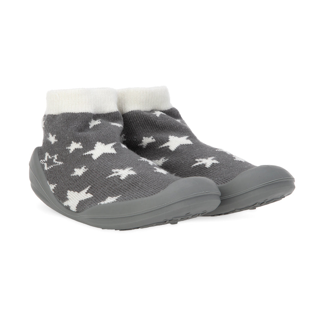 Nuby Snekz Sock & Shoe Large - Gray Stars