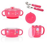 Nuby Stainless Steel Feeding Set - Pink