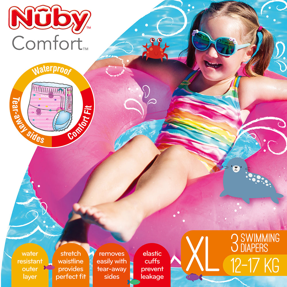 Nuby Printed Swimming Diapers X Large 3pk - Girl