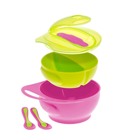 Easy-Hold Weaning Bowl Set Pink Green