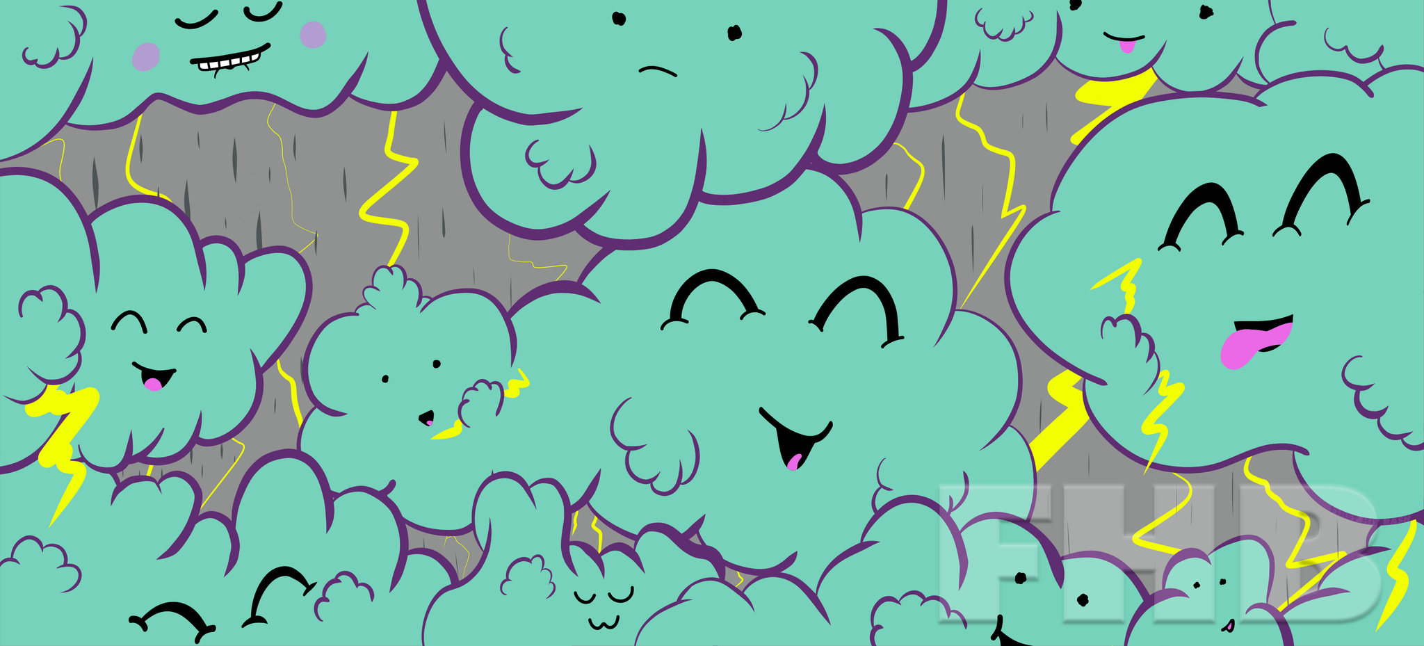Happy Little Thunderstorms Deskmat