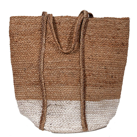 Jute Tote Bag - Natural / White