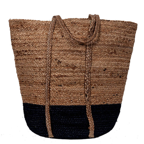 Jute Tote Bag - Natural / Navy Blue