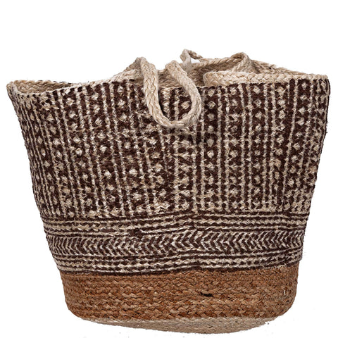 Block Printed Jute Bag - Natural / Brown