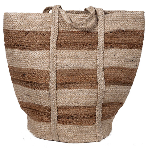 Striped Jute Bag - Natural