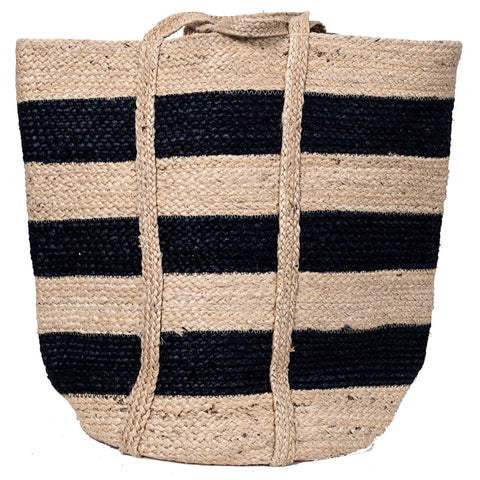 Striped Jute Bag - Natural/Navy Blue