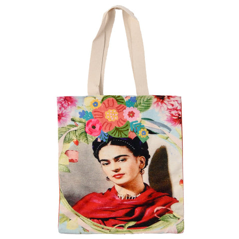 Frida Canvas Bag - Red Scarf - Tan