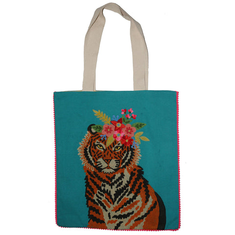 Tiger Bag - Floral Garland - Turquoise Multi