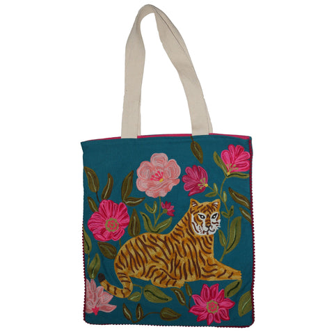 Tiger Bag - Sitting - Turquoise Multi