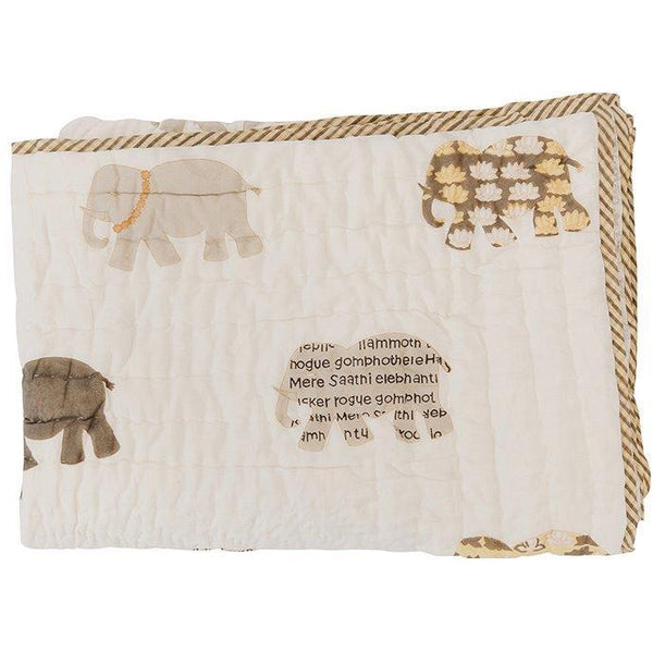 CLEARANCE Block Printed Quilt   Elephants   Natural / Mustar