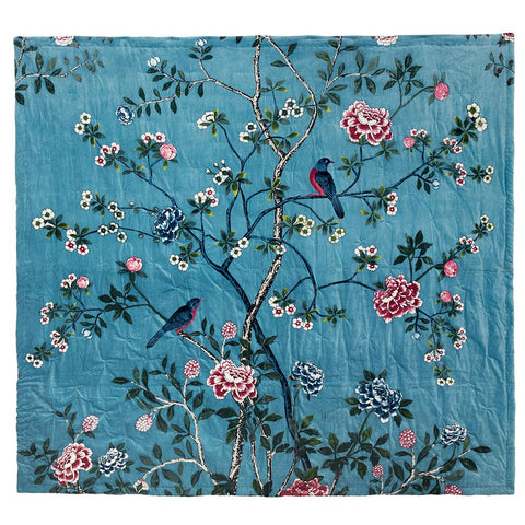 Chinoiserie Velvet Bedspread - Birds - Pale Blue Multi