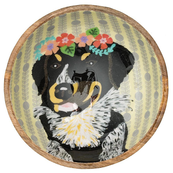 Dog with Garland Bowl - Multicolour