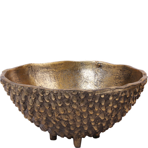 Three Legged Bowl - Large - Raw Antique Gold