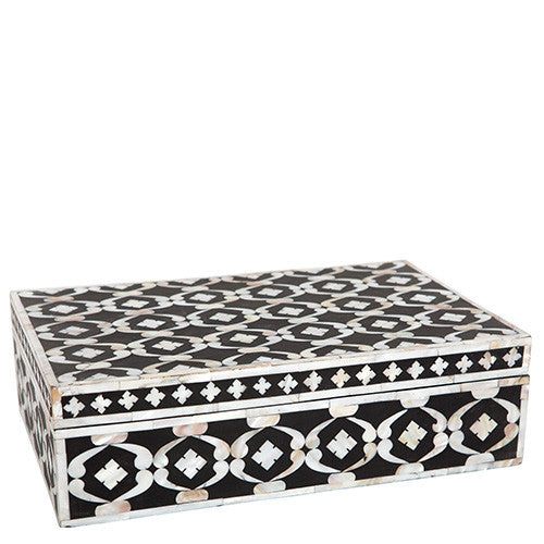 Mother of Pearl Inlay Box - Black