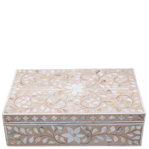 Mother of Pearl Inlay Box - Floral - Blush