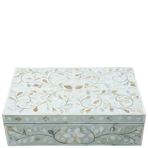 Mother of Pearl Inlay Box - Floral - Sea Foam